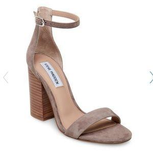 Steve Madden frame ankle strap sandal heel suede